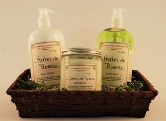 Stonewall  Herbs de Provence candle, hand soap and lotion from Sharon Elizabeth's Floral Designs in Berlin, CT